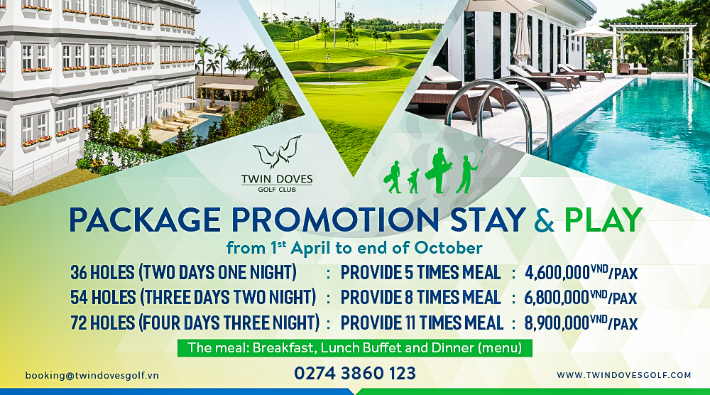 Promotion - Package Promotion stay and play from 1st April to end of October
